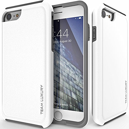 iPhone 8 Case, TEAM LUXURY Ultra Defender TPU + PC [Shock Absorbent] Premium Protective Case - for Apple iPhone 7 & iPhone 8 (Cotton White/ Gray)