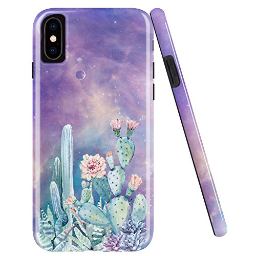 iPhone X Case,iPhone 10 Case,DOUJIAZ Clear Bumper TPU Soft Case Rubber Silicone Skin Cover for iPhone X (2017)-Cactus flower