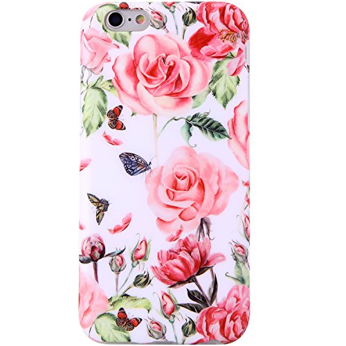 iPhone 6 Case,iPhone 6s Case Flowers for girls, VIVIBIN Shock Absorption Anti Scratch IMD Soft TPU Silicon Gel Protective Cover Case for Regula iPhone 6 / iPhone 6s - 4.7