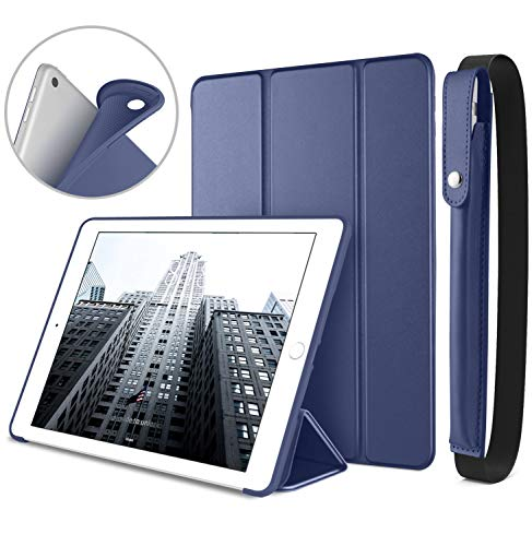 DTTO New iPad 9.7 Inch 2018/2017 Case with Apple Pencil Holder, Ultra Slim Smart Case with Trifold Stand and Soft TPU Back Cover for Apple iPad 5th / 6th Generation [Auto Sleep/Wake] - Navy Blue