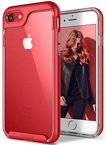 iPhone 7 Case / iPhone 8 Case Caseology [Skyfall Series] Transparent Clear Slim Scratch Resistant Protective Cover Air Space Technology for Apple iPhone 7 (2016) / iPhone 8 (2017) - Red