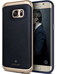 Galaxy S7 Edge Case, Caseology [Envoy Series] Classic Rich Texture Leather [Navy Blue] [Luxury Slim] for Samsung Galaxy S7 Edge (2016)
