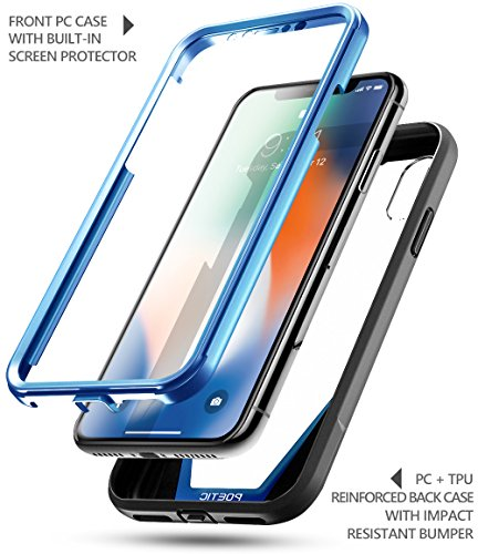 buy online 99f85 c7632 iPhone X Case, Poetic Guardian [Scratch Resistant Back] [360 Degree  Protection]Full-Body Rugged Clear Hybrid Bumper Case with Built-in-Screen  ...