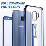 Galaxy S9 Case Clear, Transparent S9 Back Cover Blue Edges with Kickstand Ring Stand Holder Full Body Shockproof Protective Phone Case for Samsung Galaxy S9 - Coral Blue