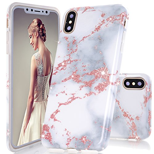 iPhone X Case,DOUJIAZ Luxury Bling Sparkly Rose Gold Metalli & White Marble Design Clear Bumper TPU Soft Case Rubber Silicone Skin Cover for for iPhone X (2017)