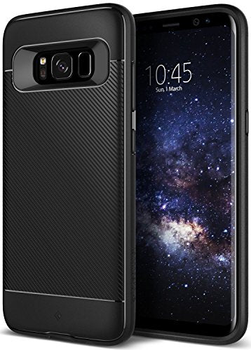 Galaxy S8 Plus Case, Caseology [Vault II Series] Slim Protective Shock Absorbing TPU Textured Grip Corner Cushion Design [Black] for Samsung Galaxy S8 Plus (2017)