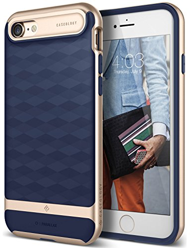 iPhone 8 Case / iPhone 7 Case Caseology [Parallax Series] Slim Dual Layer Protective Textured Geometric Cover Corner Cushion Design for Apple iPhone 7 (2016) / iPhone 8 (2017) - Navy Blue