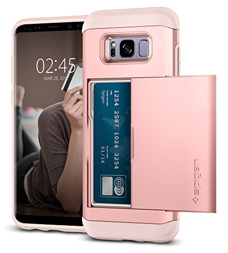 Spigen Slim Armor CS Galaxy S8 Plus Case with Slim Dual Layer Wallet Design and Card Slot Holder for Galaxy S8 Plus (2017) - Rose Gold