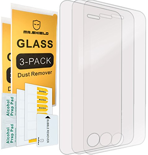 [3-PACK]-Mr Shield For iPhone SE / iPhone 5/5S / iPhone 5C [Tempered Glass] Screen Protector with Lifetime Replacement Warranty