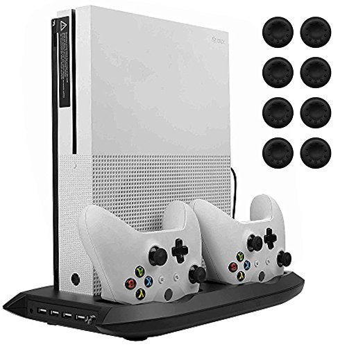 Lictin Xbox One S Vertical Stand Cooling Fan with Dual Charging Station for 2 Xbox One S Controllers + 8 Silicone Thumbs for Xbox One S Controller