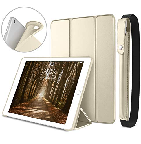 DTTO New iPad 9.7 Inch 2018/2017 Case with Apple Pencil Holder, Ultra Slim Smart Case with Trifold Stand and Soft TPU Back Cover for Apple iPad 5th / 6th Generation [Auto Sleep/Wake] - Gold