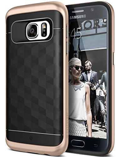 Galaxy S7 Case, Caseology [Parallax Series] Modern Slim Geometric Design [Black / Gold] [Textured Grip] for Samsung Galaxy S7 (2016)