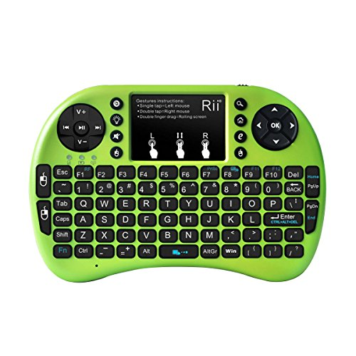 Rii i8+ 2.4GHz Mini Wireless Keyboard with Touchpad Mouse, LED Backlit, Rechargable Li-ion Battery, Green (i8+G)