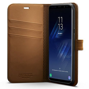 Spigen Wallet S Galaxy S8 Plus Case with Foldable Cover and Kickstand Feature for Galaxy S8 Plus (2017) - Coffee Brown