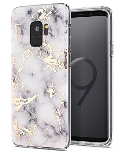 Galaxy S9 Case,Samsung Galaxy S9 Case,Spevert Marble Pattern Hybrid Hard Back Soft TPU Raised Edge Ultra-Thin Shock Absorption Slim Protective Cover Case for Samsung Galaxy S9 2018 - White