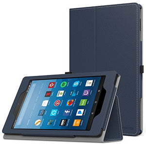MoKo Case for All-New Amazon Fire HD 8 Tablet (7th Generation, 2017 Release Only) - Slim Folding Stand Cover for Fire HD 8, INDIGO (with Auto Wake / Sleep)