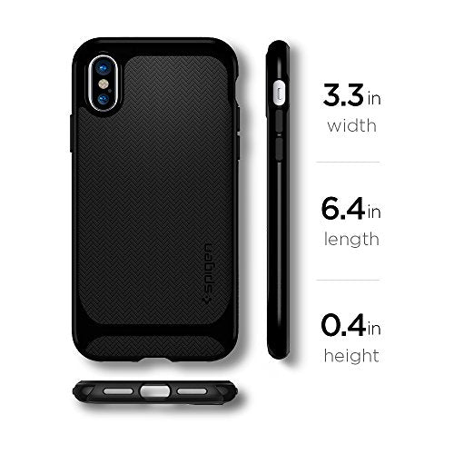 finest selection 31f35 7346b Spigen Neo Hybrid iPhone X Case Herringbone with Flexible Inner Protection  and Reinforced Hard Bumper Frame for Apple iPhone X (2017) - Jet Black