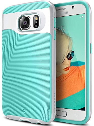 Galaxy S6 Case, Caseology [Wavelength Series] Slim Dual Layer Protective Textured Grip Corner Cushion Design [Mint Green] for Samsung Galaxy S6
