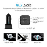 Car Charger, Maxboost 4.8A/24W 2 USB Smart Port Car Charger [Black] for iPhone 7 6S Plus 6 Plus 6 5SE 5S 5 5C, Samsung Galaxy S8 S7 S6 Edge, Note 8 4 S5,LG G6 G5 G4,HTC,Nexus 5X 6P,iPad Pro Portable