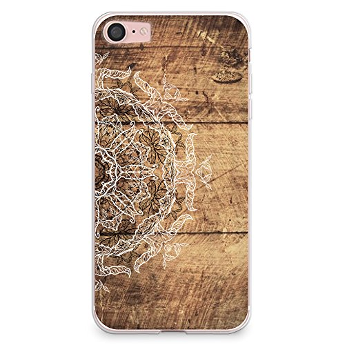 iPhone 8 Case, iPhone 7 Case, CasesByLorraine Wood Print Mandala Floral Henna Pattern Case Flexible TPU Soft Gel Protective Cover for Apple iPhone 7 & iPhone 8 (S04)