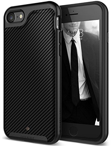iPhone 8 Case / iPhone 7 Case Caseology [Envoy Series] Slim Premium PU Leather Dual Layer Protective Corner Cushion Design for Apple iPhone 7 (2016) / iPhone 8 (2017) - Matte Black