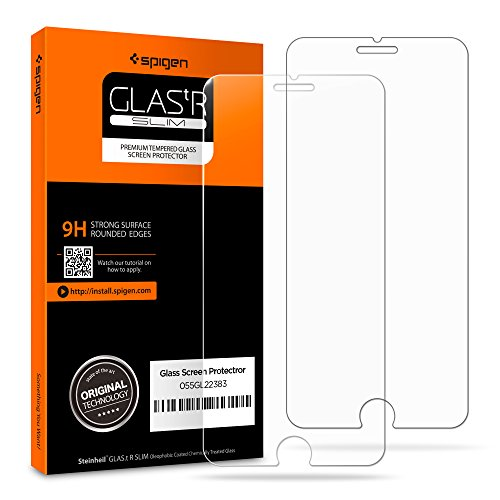 Spigen iPhone 8 Plus Screen Protector Tempered Glass / 2 Pack / Case Friendly for Apple iPhone 8 Plus