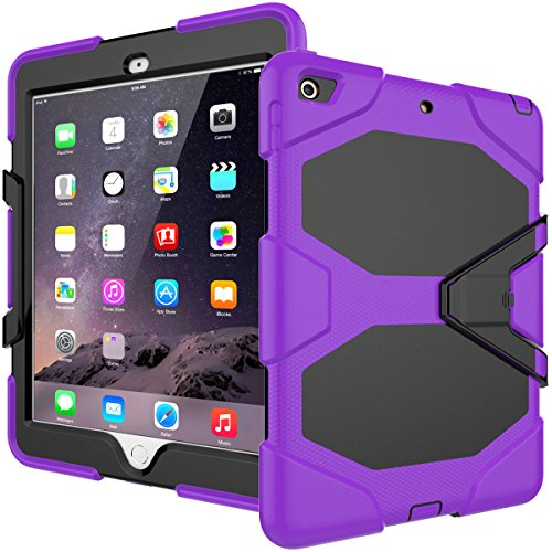 finest selection 8f859 84f2b iPad 9.7 Case 2018/iPad 9.7 2017 Case,Heavy Duty Shockproof Hybrid Screen  Protector Rugged Rubber Protective Stand Case for Apple iPad 9.7 2018 6th  ...