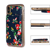 iPhone X Case,iPhone X Wallet Case,Premium PU Leather Flower Floral Back Folio Flip Wallet Cases Magnetic Holster Phone Case for iPhone X 5.8 inch (2017 Release) with stand,Card Slots-Navy Blue&Red