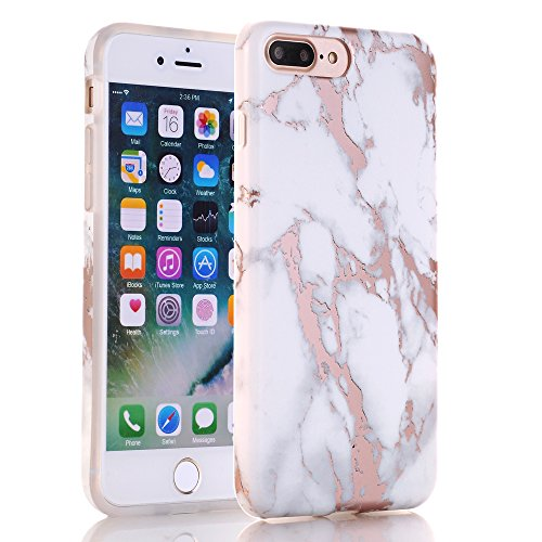new product 333a5 1d5e4 iPhone 7 Plus Case, Shiny Rose Gold White Marble Design, BAISRKE Clear  Bumper Matte TPU Soft Rubber Silicone Cover Phone Case for Apple iPhone 7  Plus ...