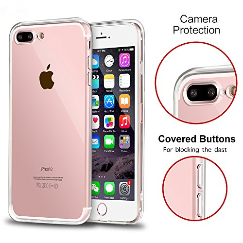 purchase cheap f20c9 29aea iPhone 7 Plus Case, Shamo's [Crystal Clear] Case [Shock Absorption] Cover  TPU Rubber Gel [Anti Scratch] Transparent Clear Back Case, Soft Silicone,  ...