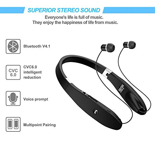 Bluetooth Headset, Bluetooth Headphones SX991-LBell Wireless Neckband  Design with Foldable Retractable Headset for iPhone X/ 8/ 7 Plus Samsung  Galaxy