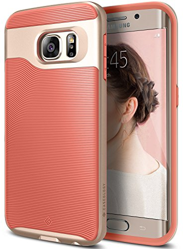 Galaxy S6 Edge Case, Caseology [Wavelength Series] Slim Dual Layer Protective Textured Grip Corner Cushion Design [Pink] for Samsung Galaxy S6 Edge