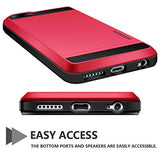 iPhone 6 Case, Vofolen Impact Resistant Protective Shell iPhone 6S Wallet Cover Shockproof Rubber Bumper Case Anti-scratches Hard Cover Skin Card Slot Holder for iPhone 6 6S 4.7 inch (Red)