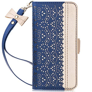 "WWW Samsung Galaxy S10 Plus Case,Galaxy S10 Plus Wallet Case, [Luxurious Romantic Carved Flower] Leather Wallet Case [Inside Makeup Mirror] [Kickstand Feature] for Galaxy S10 Plus 6.4""(2019) Navy Blue"
