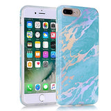 "iPhone 7 Plus Case, BAISRKE Laser Style Marble Design Cover, Colorful Lines Bling Bling Sparkling Shiny Flexible Glossy Soft Rubber TPU Case for iPhone 7 Plus 5.5"" [Teal Green Marble]"