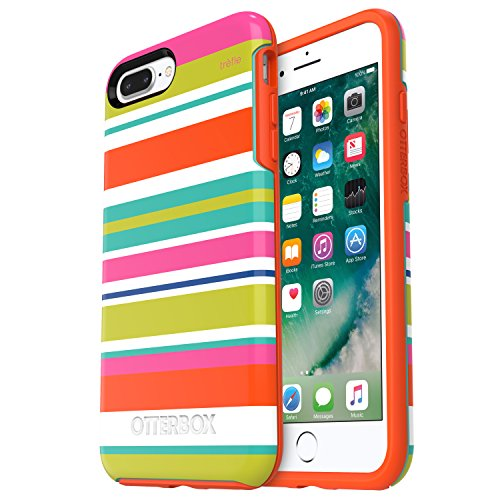 OtterBox SYMMETRY SERIES Case for  iPhone 8 Plus & iPhone 7 Plus (ONLY) - Retail Packaging - BEACH LINE (AQUA MINT/MANGO TANGO/TREFLE STRIPE)