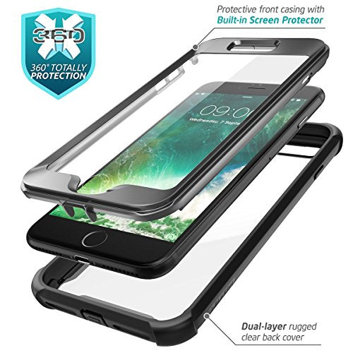 newest ecd1b 6b763 iPhone 8 Plus case, iPhone 7 Plus case, i-Blason [Ares] Full-body Rugged  Clear Bumper Case with Built-in Screen Protector for Apple iPhone 8 ...