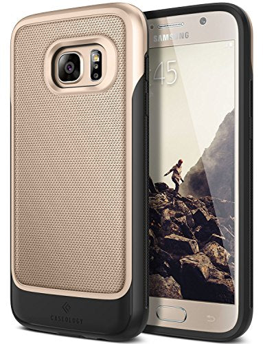 Galaxy S7 Case, Caseology [Vault Series] Metallic Mesh Slim Bodyguard [Gold] [Hybrid Armor] for Samsung Galaxy S7 (2016)