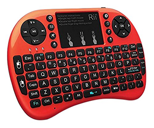 Rii i8+ BT Mini Wireless Bluetooth Backlight Touchpad Keyboard with Mouse for PC/Mac/Android, Red (RTi8BT-6)