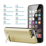 Battery Case for iPhone 7Plus 8Plus,Cofuture 8000mAh Extended Protective Battery Case with Lightning Headphone Jack,Sync Through,Pop-out Kickstand (iPhone 7P 8P Gold)
