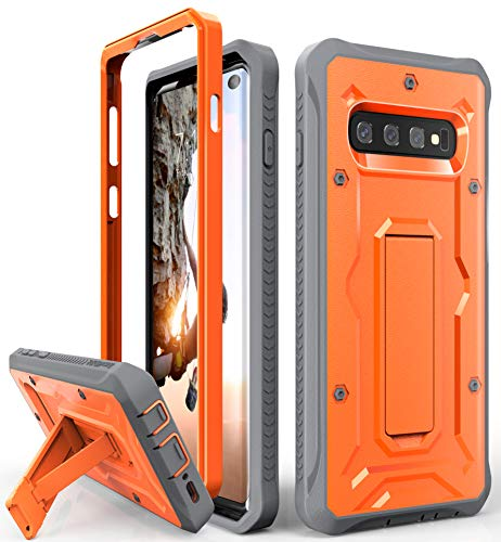 Galaxy S10 Heavy Duty Case - ArmadilloTek Vanguard Series Military Grade Rugged Case with Kickstand for Samsung Galaxy S10 [Not S10+ Plus or S10e] - Vibrate Orange/Gray