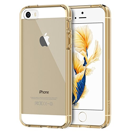 best sneakers 67095 b00c8 iPhone SE Case, JETech Apple iPhone 5/5S/SE Case Bumper Cover  Shock-Absorption Bumper and Anti-Scratch Clear Back for iPhone 5 5S SE  (Gold) - 0428