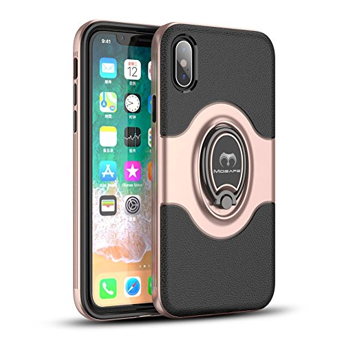 competitive price a429c 66036 iPhone X Case, Mosafe 360° Rotating Ring Holder Kickstand Shockproof with  Magnetic Protective Back Cover Bumper 5.8 Inches for iPhone X (Rose Gold)