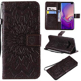 Galaxy S10 Plus Case,Samsung S10 Plus Case,Wallet Case,PU Leather Case Sun Flower Pattern Embossed Purse with Kickstand Flip Cover Card Holders Hand Strap for Samsung Galaxy S10 Plus Brown