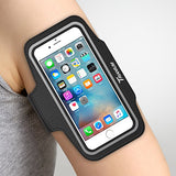 "Trianium Armband for Smaller Phone Sport Running Pouch Case Fit phone diagonal size up to 5.85"" For iPhone 7 6s 6, iPhone SE 5S 5 5C, Galaxy s8 s7 s6 s5 [ArmTrek Classic Black]"