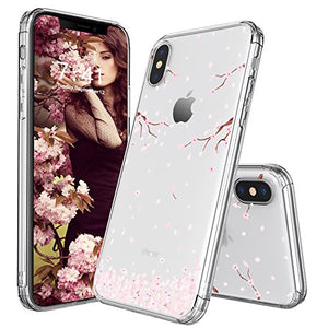 buy popular 3684b 0b370 iPhone X Case, Cover for iPhone X, MOSNOVO Cherry Blossom Floral Printed  Flower Clear Design Transparent Plastic Hard Slim Case with Soft TPU Gel ...