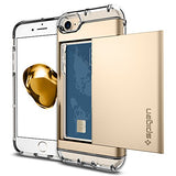 Spigen Crystal Wallet iPhone 7 / iPhone 8 Case with Slim Dual Layer Wallet Design and Card Slot Holder for Apple iPhone 7 (2016) / iPhone 8 (2017) - Champagne Gold