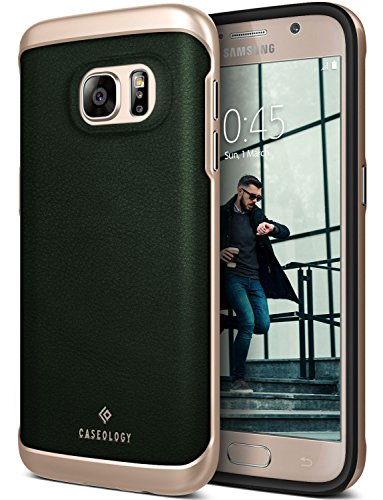 Galaxy S7 Case, Caseology [Envoy Series] Slim Premium PU Leather Dual Layer Protective Corner Cushion Design [Leather Green] for Samsung Galaxy S7 (2016)