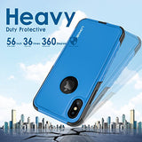 iPhone X Case, Reliable Heavy Duty Drop Proof Dual Layer Protective 360 Full Body Shockproof Flexible Tpu and Hard PC Back 2 in 1 Hybrid Defender Non Slip Cute Case Cover for Apple iPhone X - Blue
