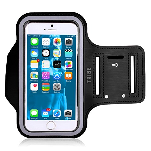 Water Resistant Cell Phone Armband: 5.7 Inch Case for iPhone 7 Plus, 6/6S Plus, S8, PIxel XL, All Galaxy Note Phones - Adjustable Reflective Velcro Workout Band, Key Holder & Screen Protector